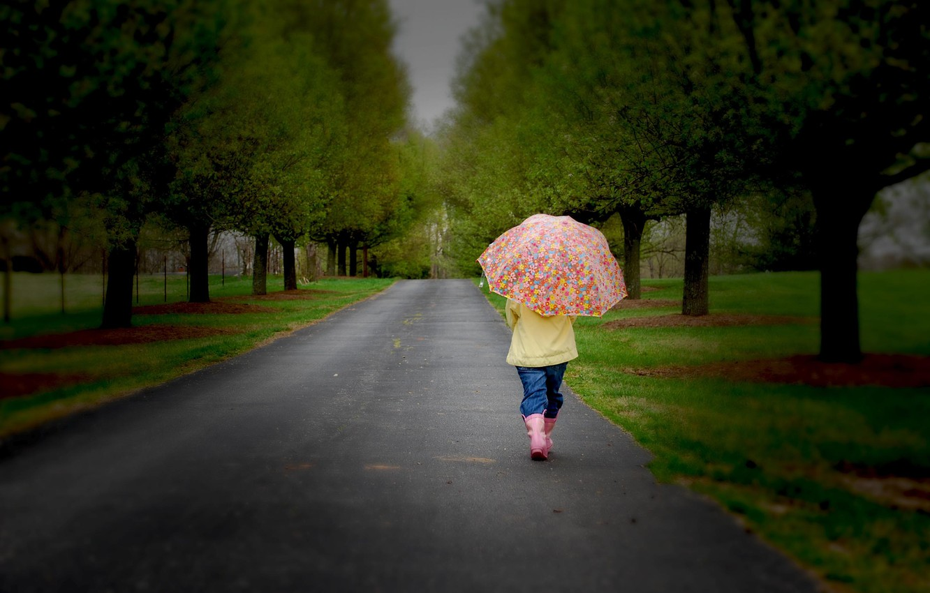 Photo wallpaper road, sadness, trees, nature, children, childhood, umbrella, child, road, trees, nature, umbrella, sadness, lonely, child, …