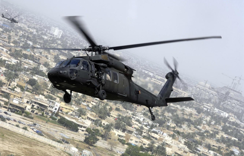 Photo wallpaper flight, the city, Sikorsky, UH-60, Black Hawk, black hawk
