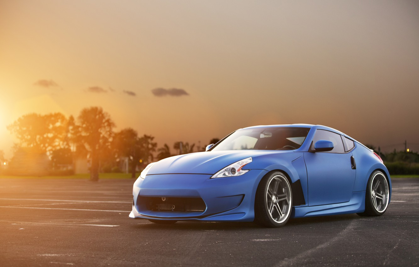 Photo wallpaper the sun, sunset, blue, tuning, Nissan, Blik, Nissan, blue, front, kit, 370Z