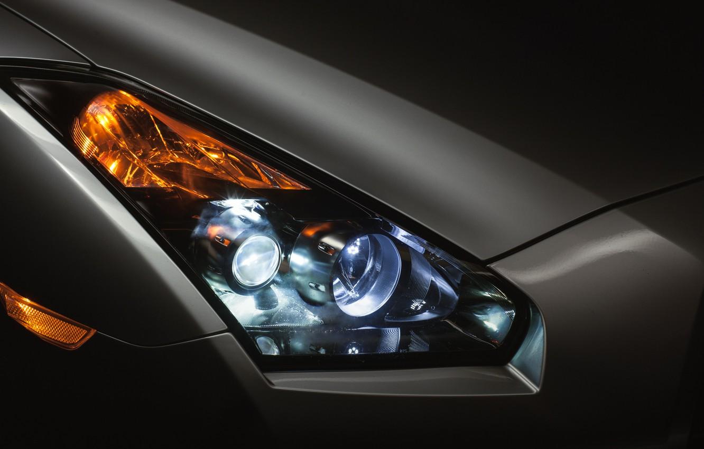 Photo wallpaper headlight, Matt, Nissan, GT-R, front, turn signal