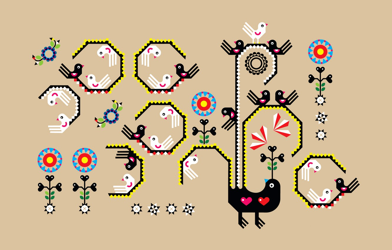 Photo wallpaper bird, pattern, art, creativity, embroidery