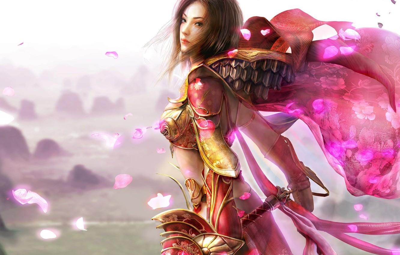 Photo wallpaper pink, petals, warrior