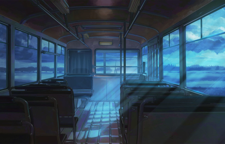 Photo wallpaper night, bus, everlasting summer, endless summer, iichan-eroge
