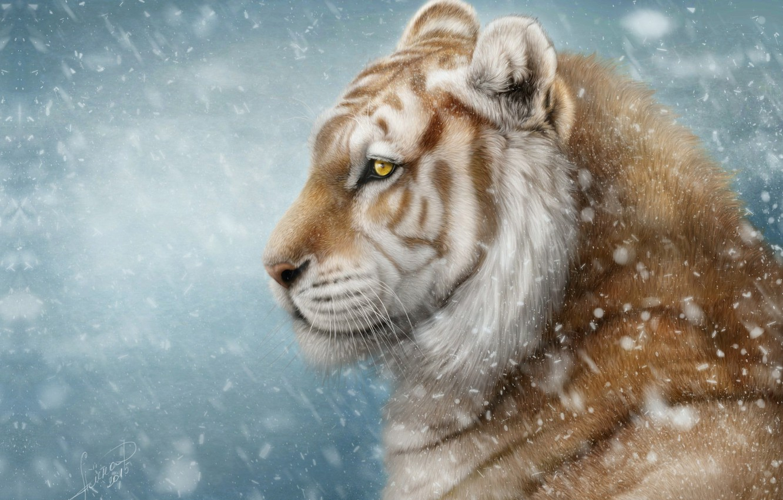 Photo wallpaper winter, snow, tiger, art, Alena Ekaterinburg