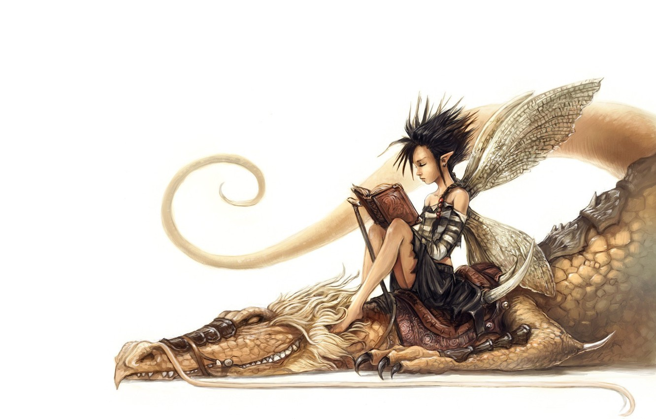 Photo wallpaper dragon, tale, art, friendship, book, fantasy, fake