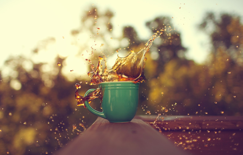 Photo wallpaper drops, macro, squirt, coffee, blur, Cup