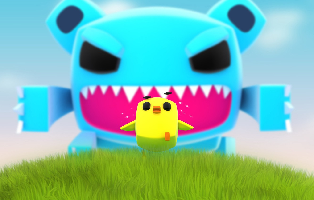 Photo wallpaper yellow, fear, monster, chase, Blue, chicken
