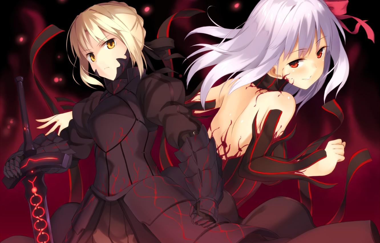Photo wallpaper weapons, girls, sword, anime, art, fate stay night, dark saber, distortion, dark matou sakura, kinta