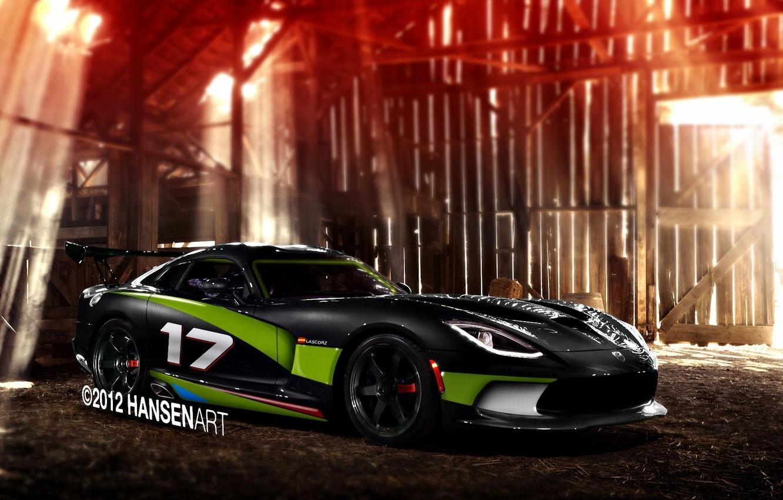 Photo wallpaper rendering, Dodge, the barn, Viper, Dodge, Viper, rays of light, GTS, SRT, carbon body