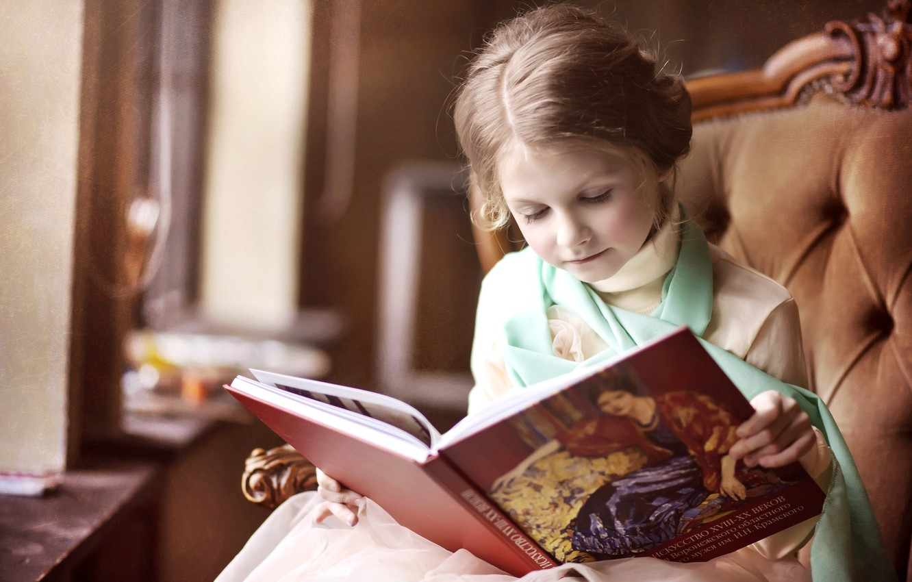 Photo wallpaper chair, girl, book, curiosity, reading, lady