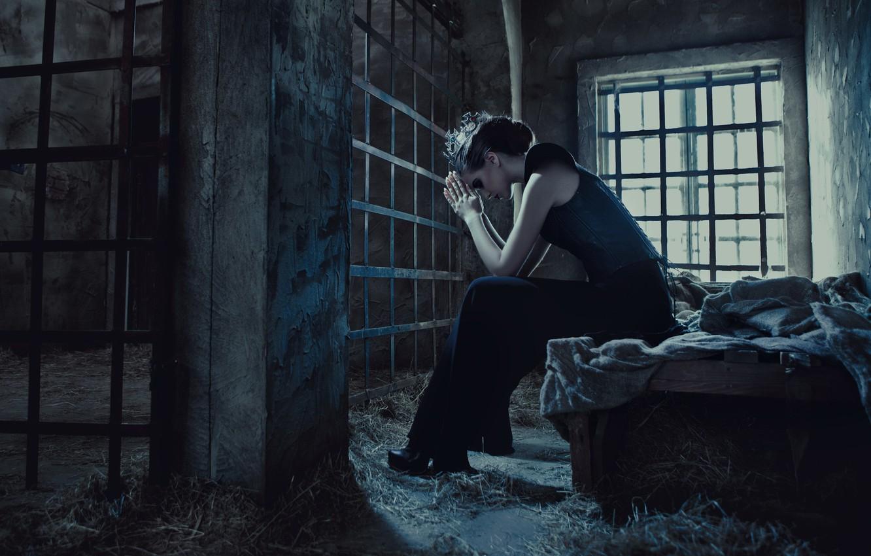 Photo wallpaper loneliness, Girl, grille, window, Princess, prison