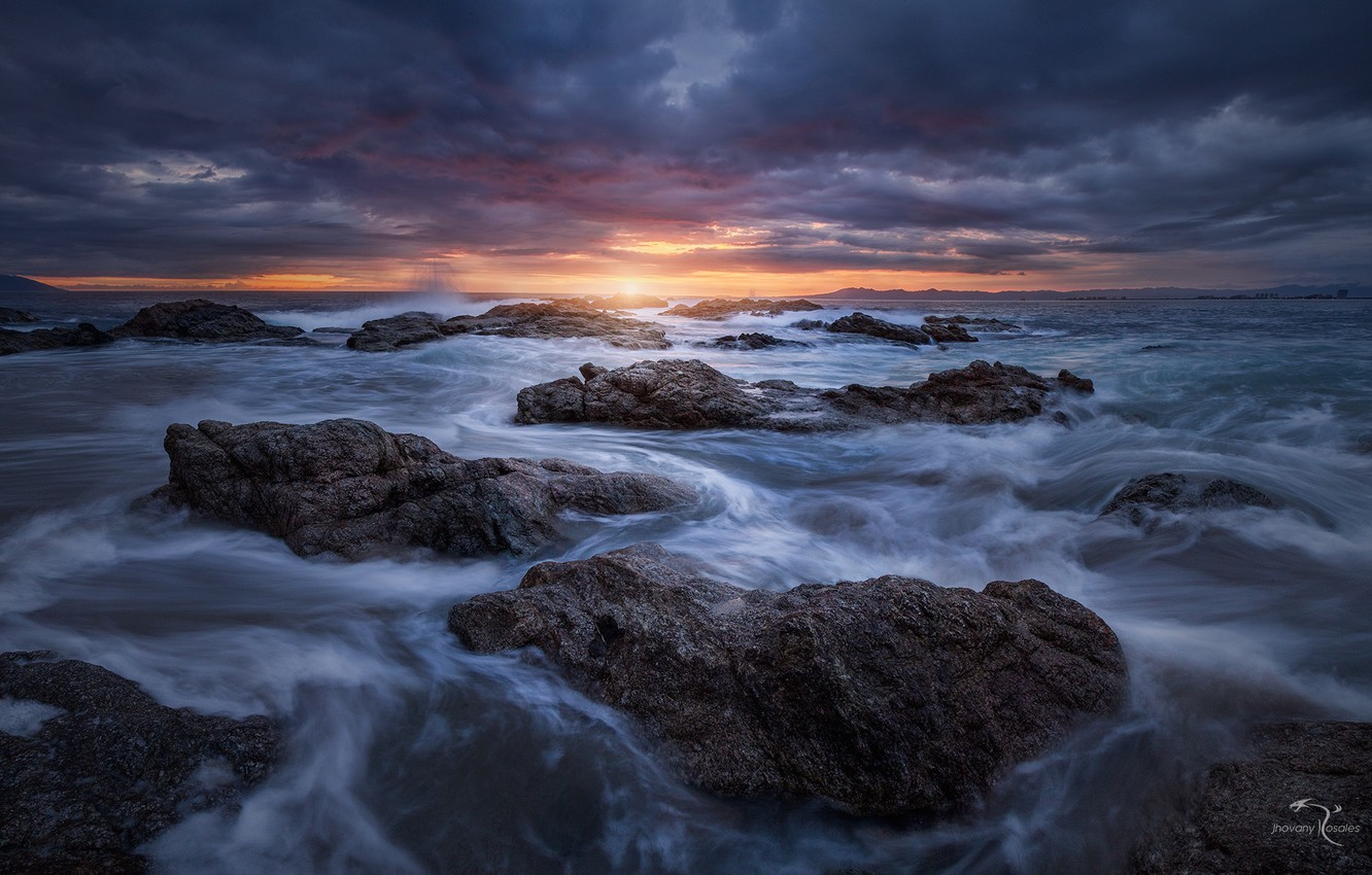 Photo wallpaper sea, wave, nature, stones, the evening, threads