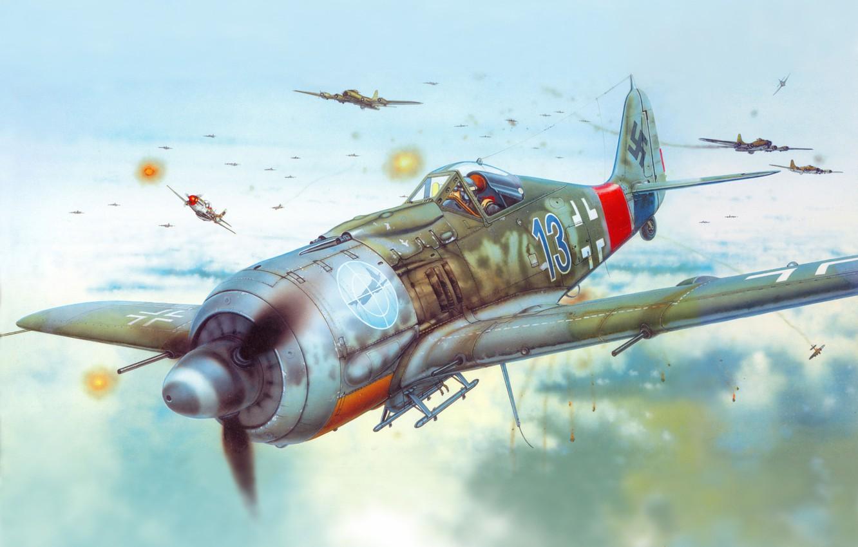 Photo wallpaper the plane, figure, fighter, Air force, Luftwaffe, Focke-Wulf, Focke-Wulf, FW190A