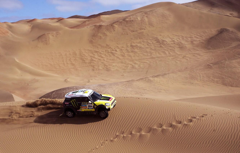 Photo wallpaper Sand, Mini, Sport, Race, Mini Cooper, Dakar, SUV, Rally, Mini, Side view, 2014, Dune, X-raid, …