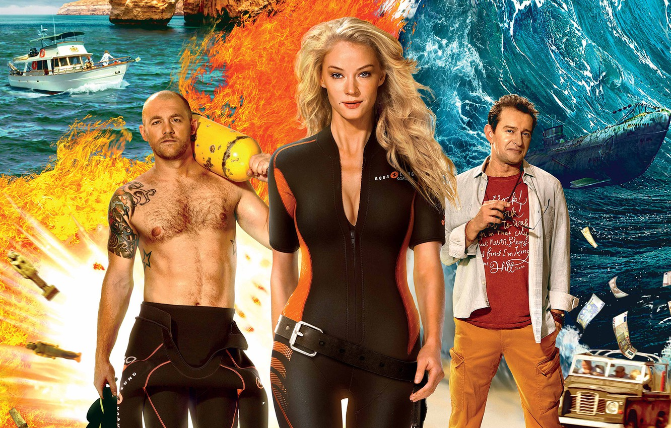 Photo wallpaper adventure, poster, diving, Malta, Svetlana Khodchenkova, Konstantin Khabensky, Denis Shvedov, Adventurers