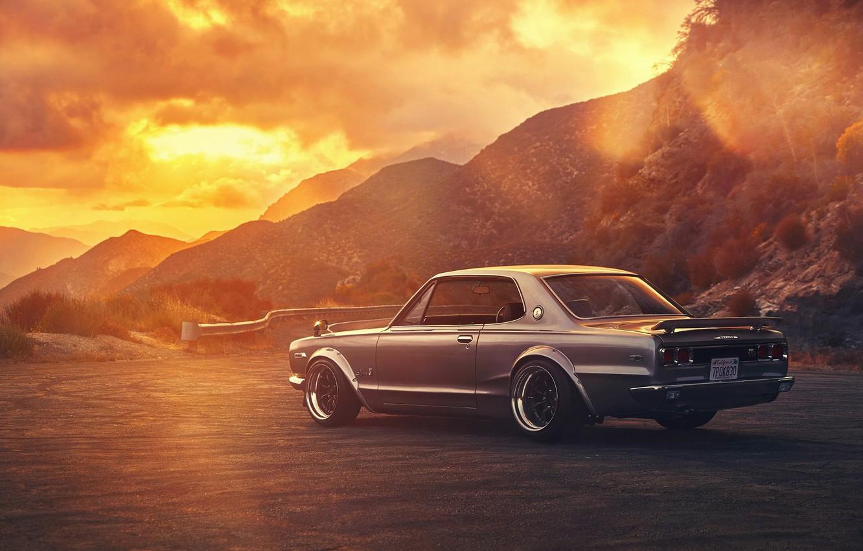 Photo wallpaper Nissan, GTX, Car, 2000, Sunset, Skyline, Old, Rear