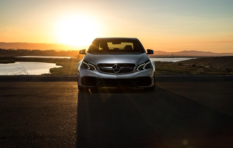Photo wallpaper Mercedes-Benz, Car, Carbon, Front, Sunset, Grey, Matte, Motorsport, Sonic, E63, Mode, AMG S