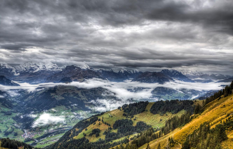 Photo wallpaper forest, clouds, landscape, mountains, fog, the village
