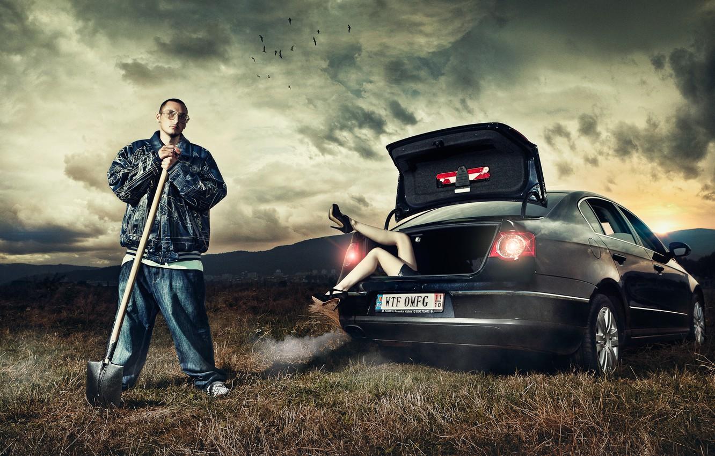 Photo wallpaper girl, man, car, shovel, Daniel Ilinca