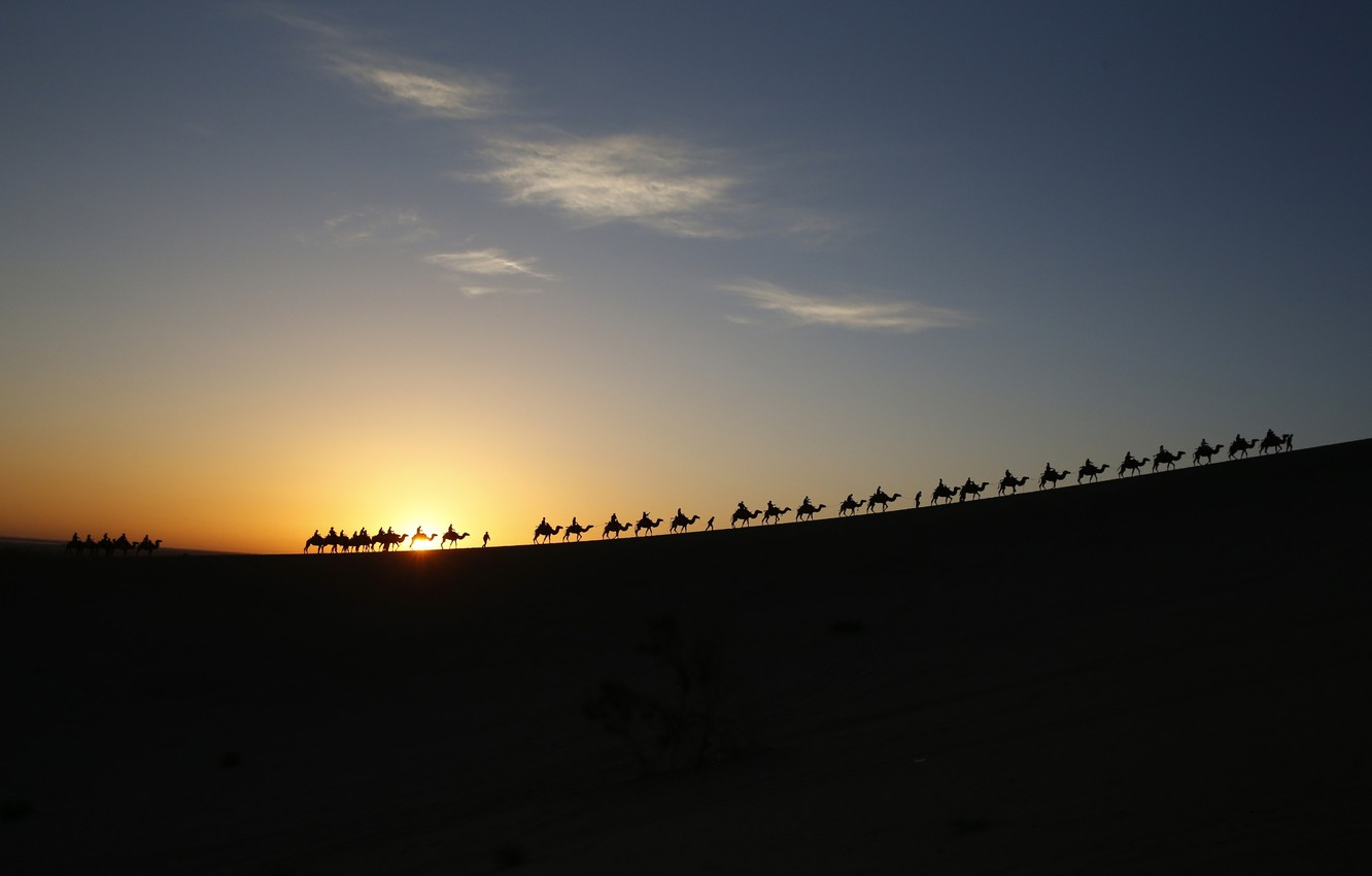 Photo wallpaper the sky, the sun, clouds, people, desert, Caravan, camels