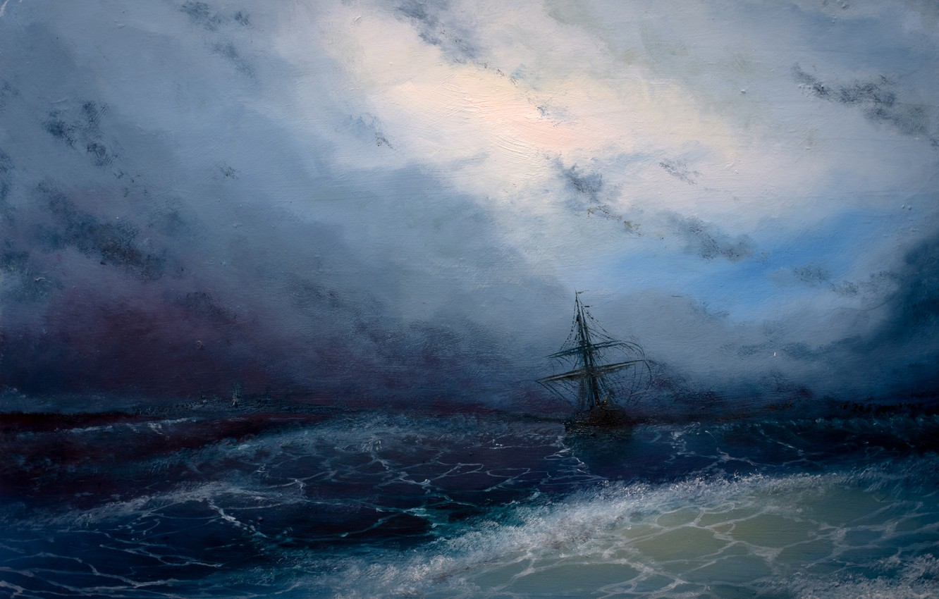 Photo wallpaper sea, wave, the sky, clouds, storm, ship