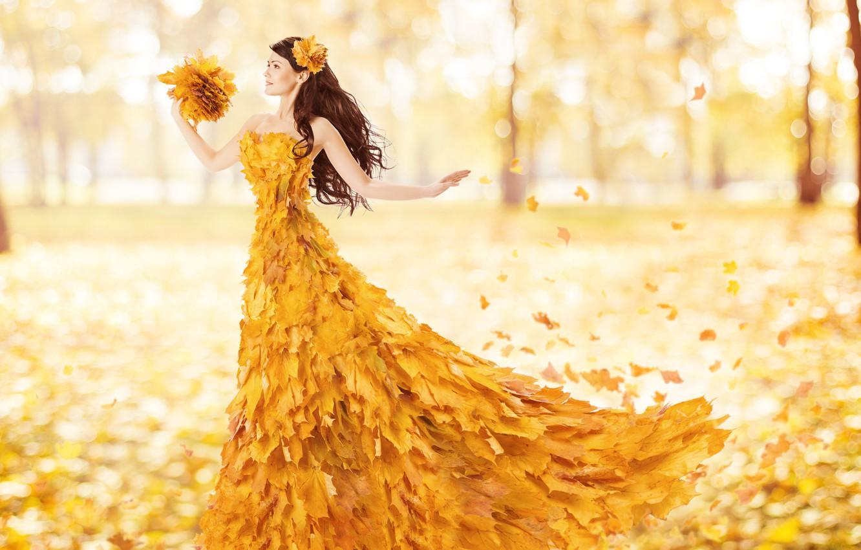 Photo wallpaper autumn, leaves, Girls, bokeh