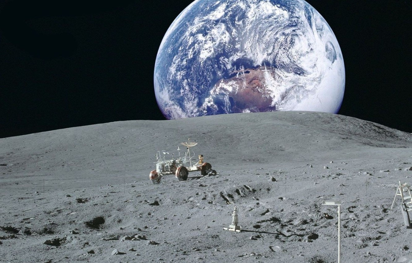 Photo wallpaper space, earth, Wallpaper, the moon, planet, NASA, lunar vehicle, view of earth from the moon