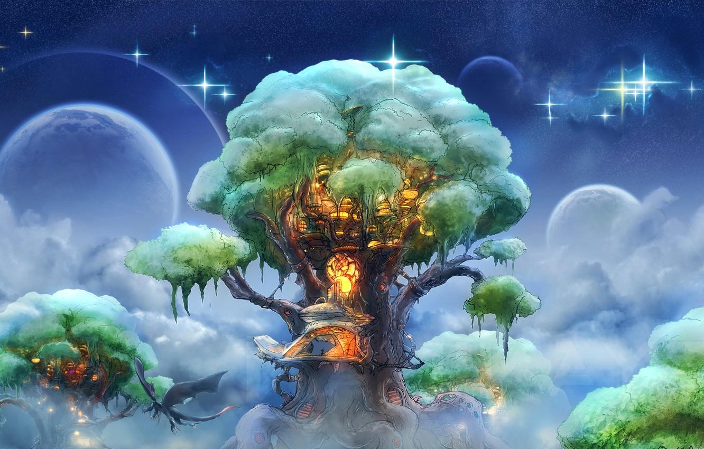 Photo wallpaper the sky, clouds, tree, dragon, planet, stars, fantasy, art, house, flight, house, fantasy, sky, style, …