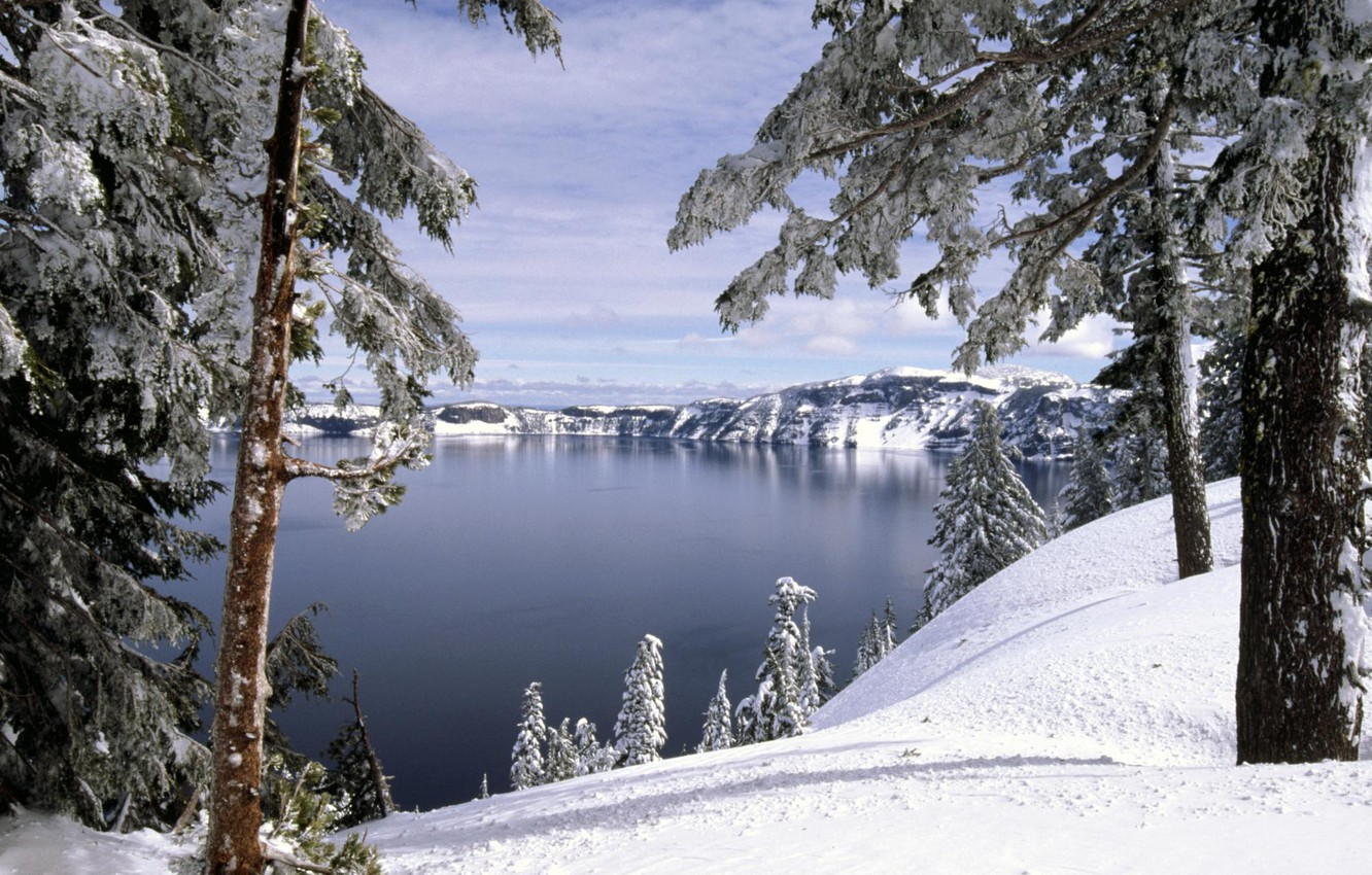 Photo wallpaper winter, forest, snow, trees, lake, hills
