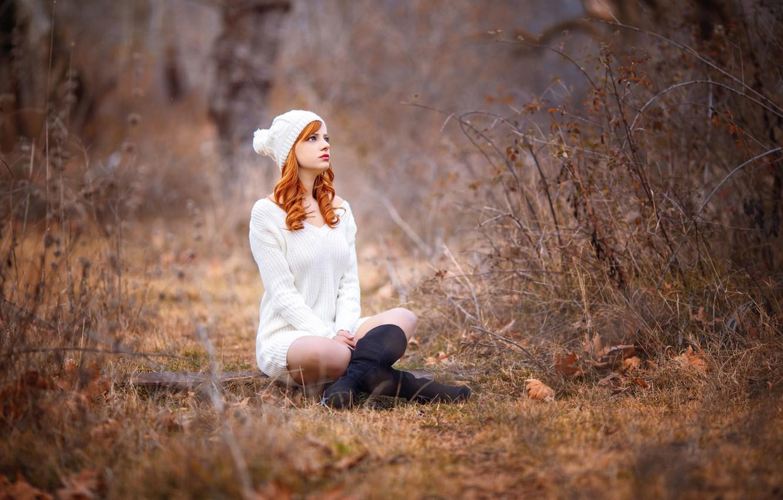 Photo wallpaper legs, the beauty, redhead, cap, Melis