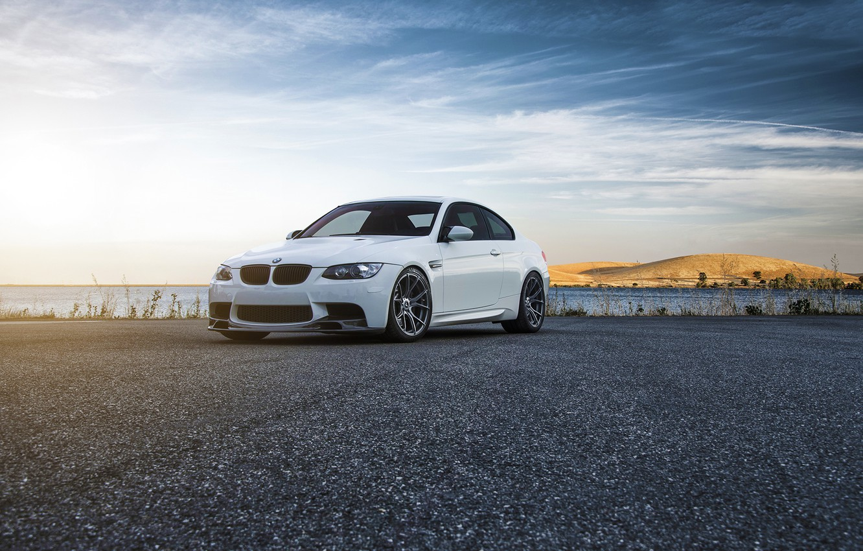 Photo wallpaper BMW, Car, Front, Vorsteiner, Color, White, Forged, E92, Wheels, Flow