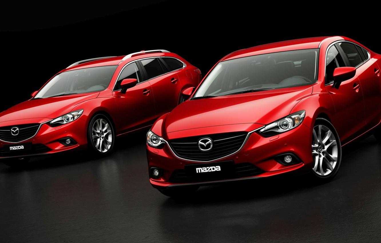 Photo wallpaper Red, Auto, Sedan, Car, Mazda 6, The front, Universal