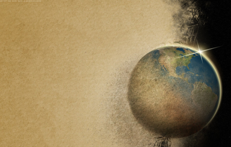 Photo wallpaper sand, earth, destruction