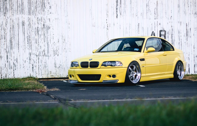 Photo wallpaper BMW, Yellow, E46