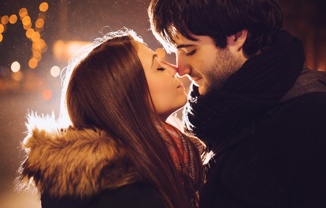 Photo wallpaper Girl, kiss, pair, guy, relationship, date, youth