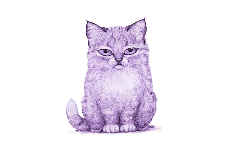 Photo wallpaper cat, purple, cat, painting, lynx, light background