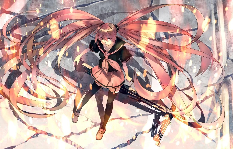 Photo wallpaper girl, weapons, anime, art, form, vocaloid, hatsune miku, shijuu ago
