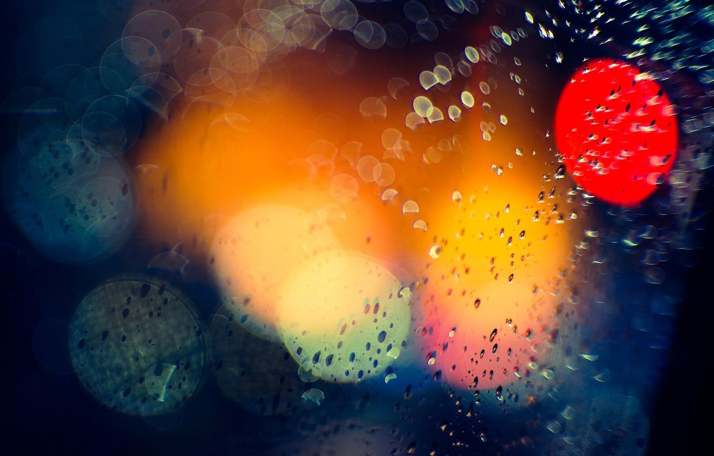 Photo wallpaper macro, light, night, the city, glare, rain, bokeh