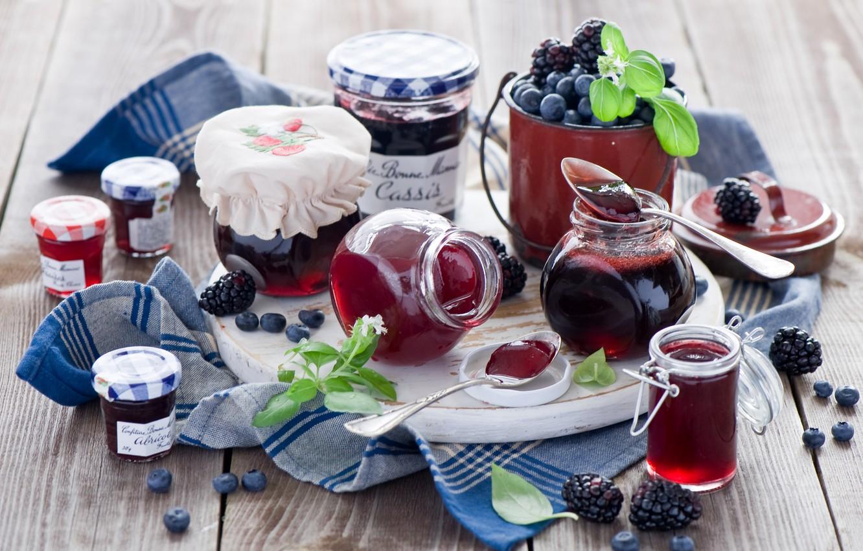 Photo wallpaper berries, blueberries, jars, banks, BlackBerry, jam, jam, spoon, Anna Verdina