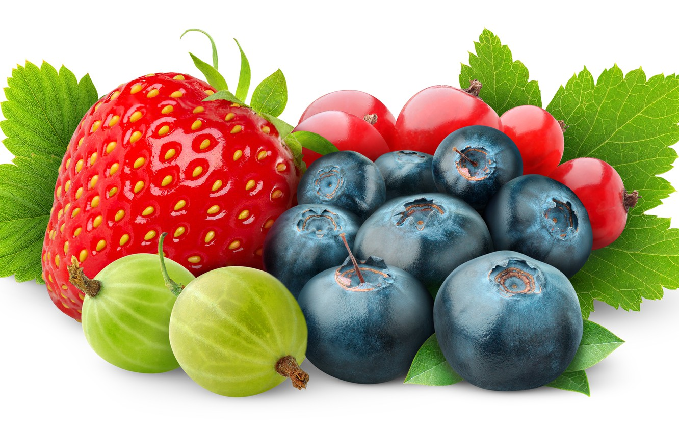 Photo wallpaper berries, blueberries, strawberry, gooseberry, red currant