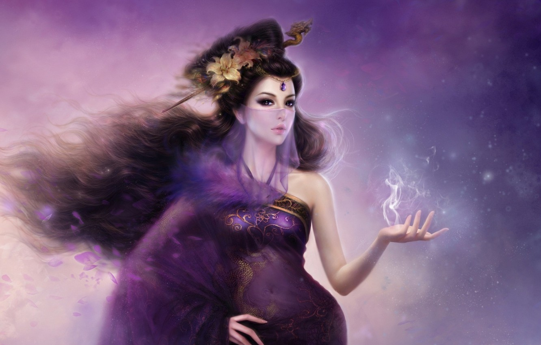 Photo wallpaper girl, flowers, hair, dragon, smoke, Lily, art, veil, barrette, ruoxing zhang
