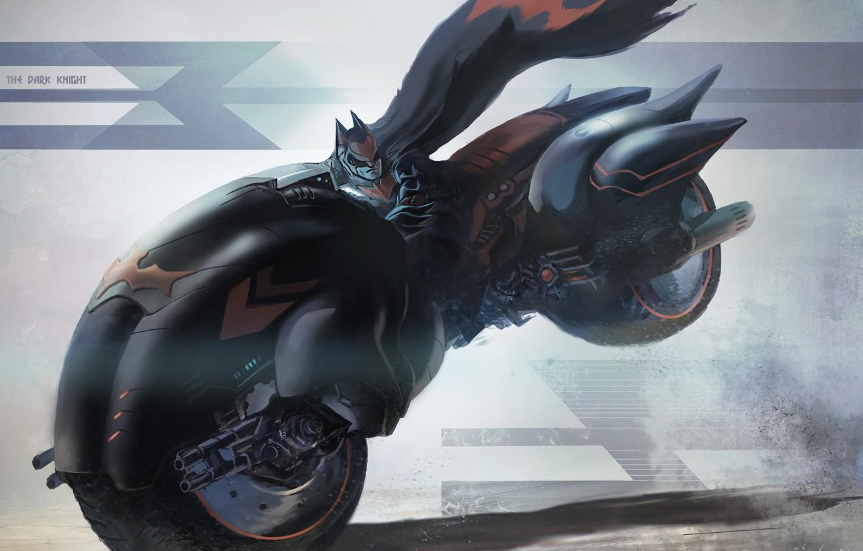 Photo wallpaper speed, bike, Batman, simple background
