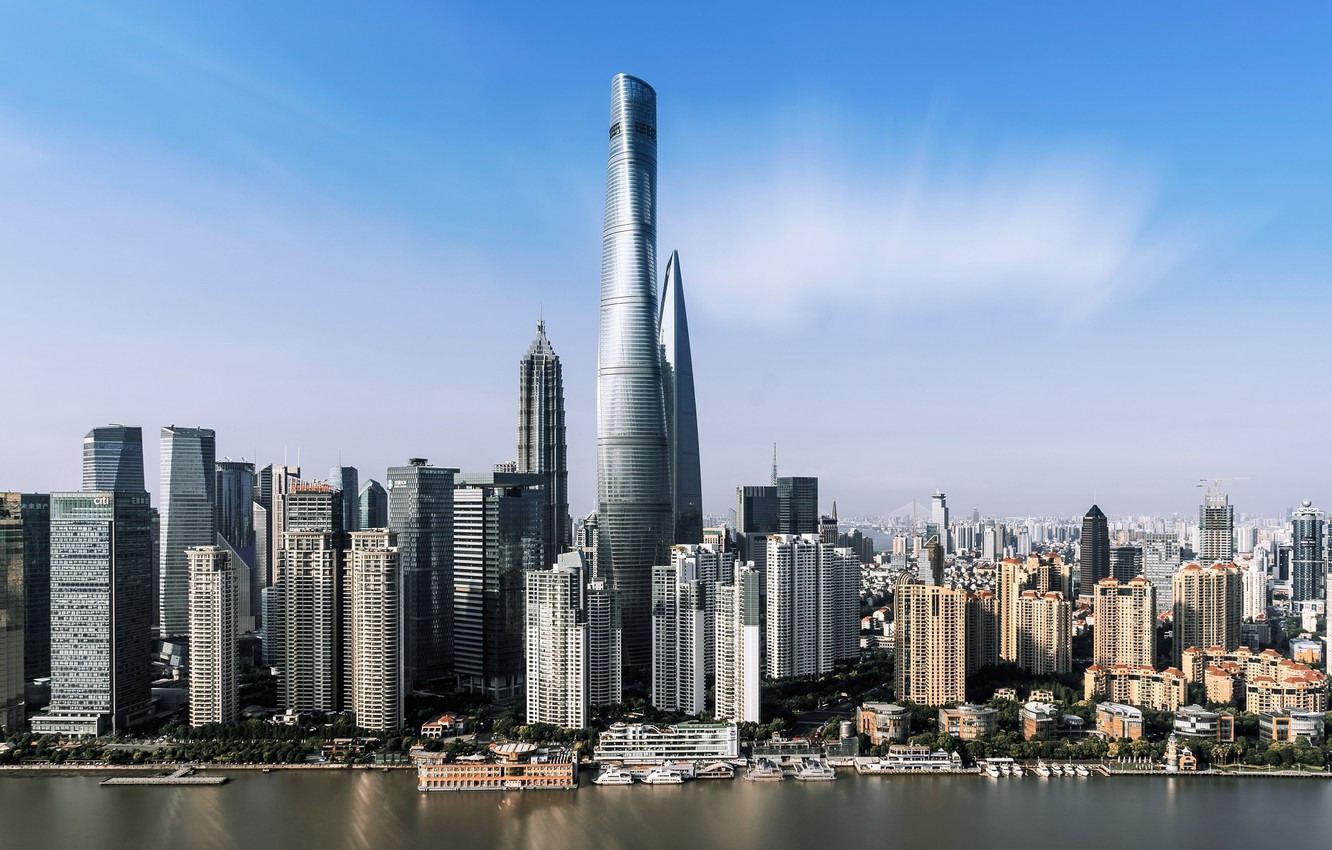 Photo wallpaper the city, building, skyscrapers, China, Shanghai