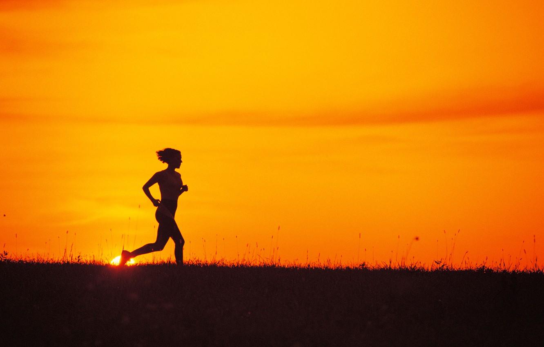 Wallpaper girl, nature, sport, the evening, silhouette, running ...