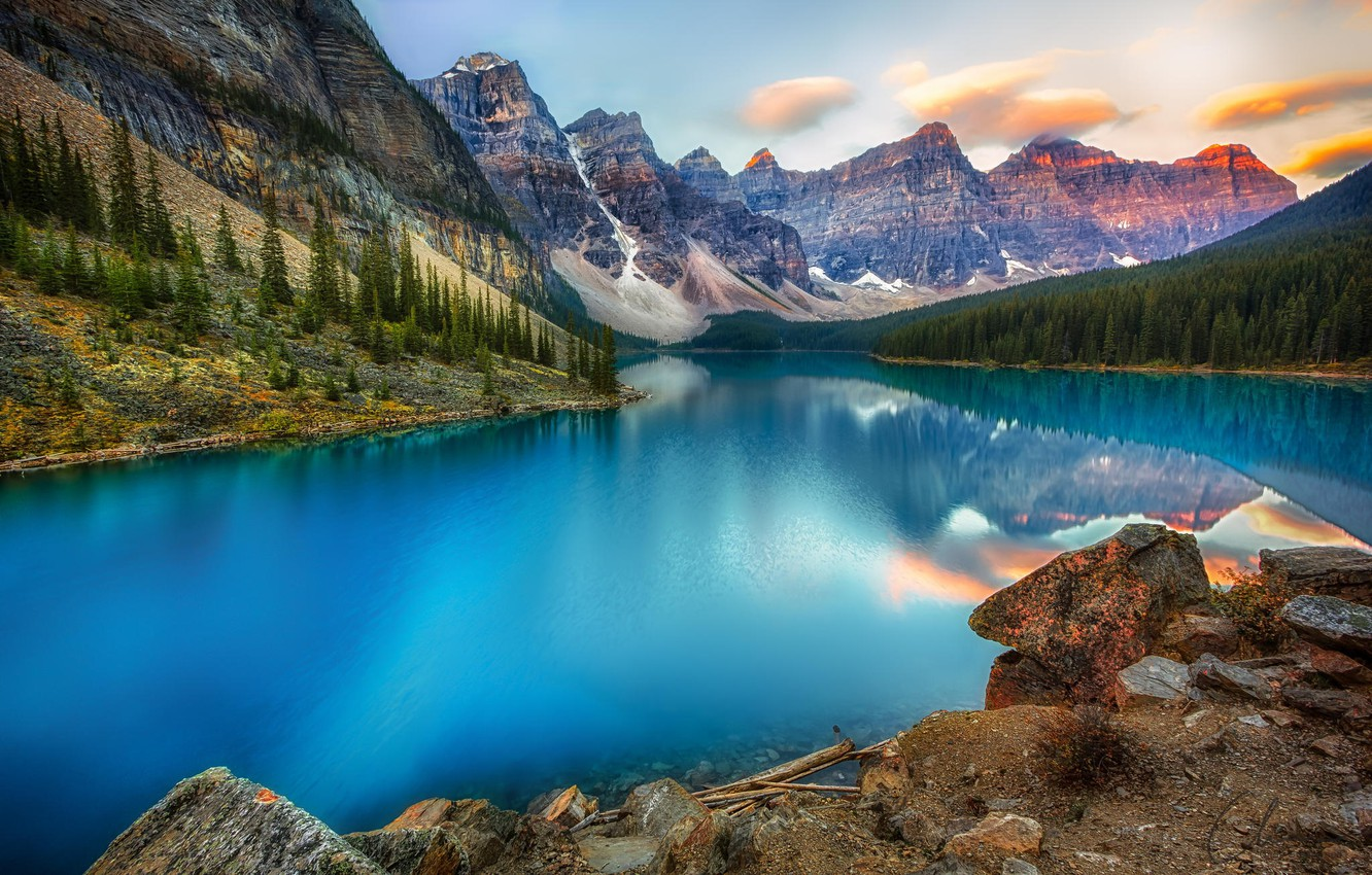 Photo wallpaper forest, mountains, nature, tree, lake, Canada