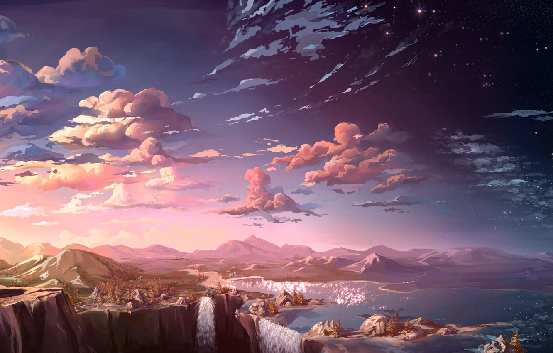 Photo wallpaper clouds, landscape, sunset, mountains, rocks, view, art, waterfalls, river