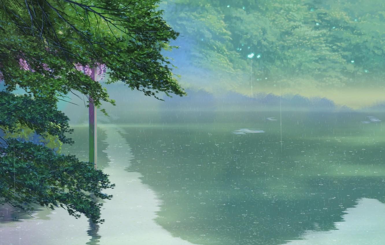 Photo wallpaper Lake, Trees, Rain, Anime, Makoto Xingkai, Anime, Trees, The Garden Of Words, Makoto Shinkai, Kotonoha …