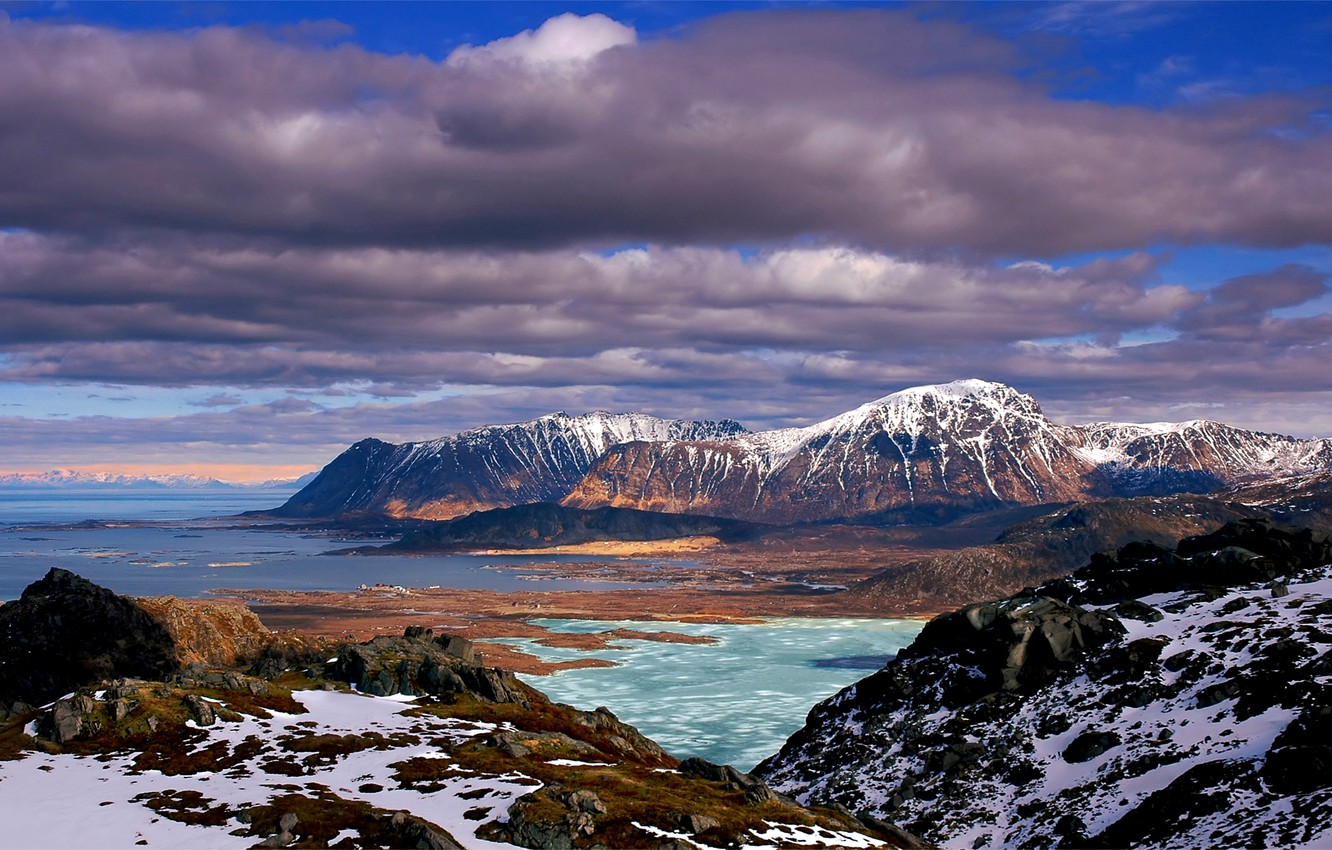 Photo wallpaper sea, the sky, clouds, snow, nature, stones, hills, blue, moss, Mountains, blue