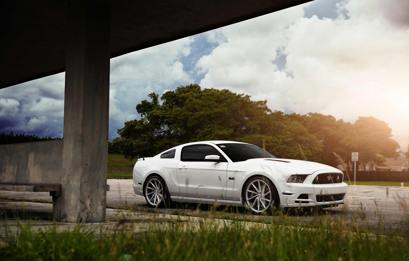 Photo wallpaper Mustang, Ford, Muscle, Car, Front, Sun, White, CVT, Vossen, Wheels