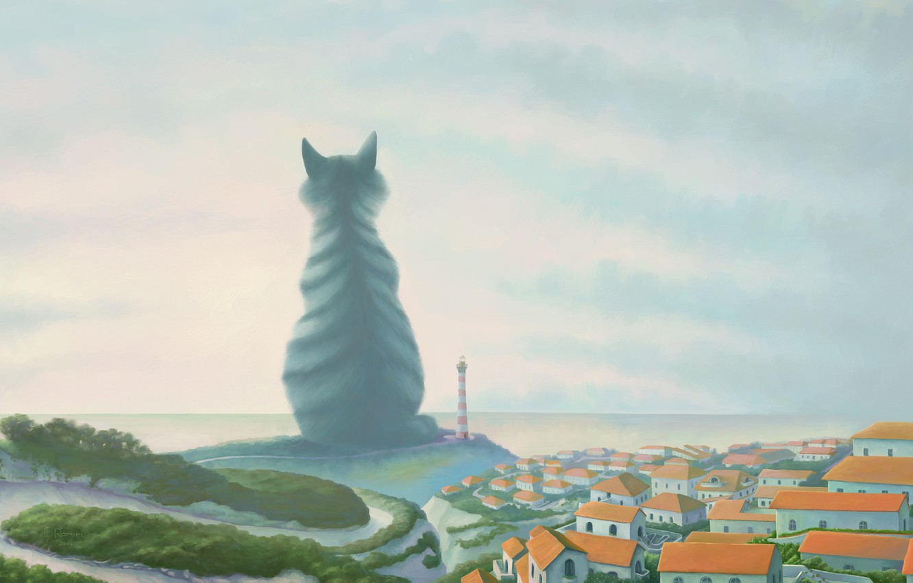 Photo wallpaper the city, lighthouse, giant, Cat